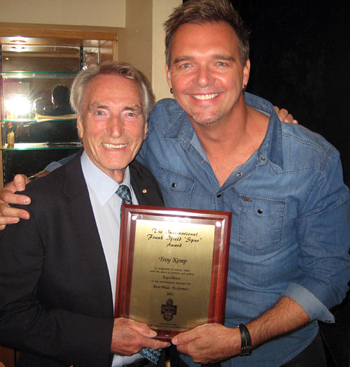 FRANK IFIELD and the 2017 Frank ifield International Spur Award winner....TROY KEMP